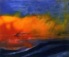 Sea and Two Steamboats with Red Evening Sky Emil Nolde