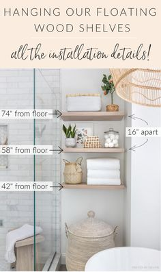 All the details on our floating wood shelves - where to buy them, how we hung them, what we put on them, and more! Reclaimed Wood Floating Shelves, Wood Shelves, Shelving, Small Bathroom, Master Bathroom, Bathroom Ideas, Styling Bookshelves, White Hand Towels, Blogger Home