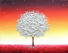 Silver Tree Painting Canvas Art Impasto Painting by BingArt Purple Trees, Landscape Paintings, Tree Paintings, Acrylic Paintings, Abstract Landscape, Impressionist Art, Rainbow Art, Inspirational Wall Art, Texture Art