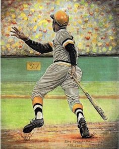 Roberto Clemente, Pittsburgh Pirates by Ray Fernandez Pirates Baseball, Indians Baseball, Baseball Art, Baseball Players, Baseball Shirts, Roberto Clemente, Pittsburgh Sports, Pittsburgh Pirates, Pittsburgh City
