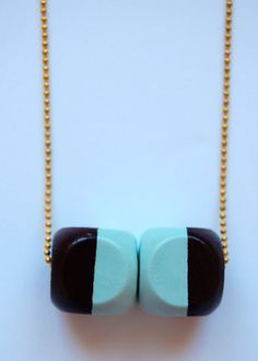 Two cubes geometric wood hand painted necklace by LindoRon on Etsy, $18.00