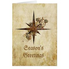Steampunk Compass Star Holiday Card - click/tap to personalize and buy