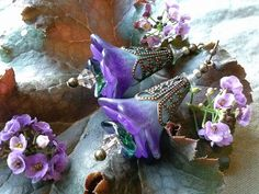 Midnight Skies Flower Earrings by WillowCreekCraftShop on Etsy