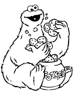 Best Coloring: Cookie monster christmas coloring pages - Amazing Coloring sheets - Cookie Monster is a Muppet on the long-running children's television show Sesame Street. He is best known for his voracious appetite and his famous ea. Monster Coloring Pages, Coloring Book Pages, Printable Coloring Pages, Coloring Pages For Kids, Coloring Sheets, Cookie Monster Party, Cookie Monster Eating Cookies, Big Cookie, Sesame Street Christmas