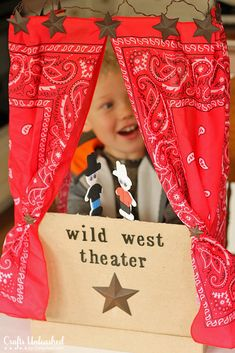 Puppet Theater for Kids: A Step by Step Tutorial Cowboy Theme, Cowboy Party, Western Theme, Wild West Crafts, Diy For Kids, Gifts For Kids, Cowboy Crafts, Western Crafts, Wild West Theme