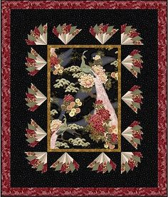 """Free pattern, Dresden fans surrounding a center medallion. The quilt is """"Milady's Mural"""" by Debbie Beaves"""