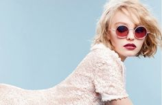 Lily Rose Depp poses in a beaded floral pink dress and crystal sunglasses for Chanel .. wavy textured #bob that is just perfect!