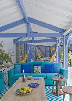House of Turquoise: Melián Randolph Beach Porch, Greek Decor, Houses In France, Blue Ceilings, House Of Turquoise, Outdoor Spaces, Outdoor Decor, Decoration Inspiration, Outside Living