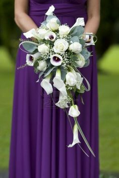 bouquet - cala lilies white with purple centre, gypsophilia, white roses and greenery