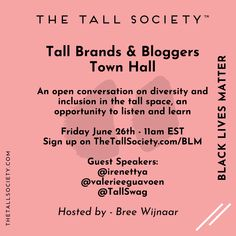 Is your brand marketing representative of your customer base? Are you compensating black bloggers the same as white bloggers or even offering them the same opportunities? From those you have hired and contracted in the past, what percentage are POC? These are all questions you should be asking yourself.⁠  ⁠ ◾ Tall Brands & Bloggers, sign up via the LINK in our BIO or on TheTallSociety.com/BLM⁠