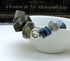 Jasper, kyanite, sterling silver luxe piece ... organic at it's finest
