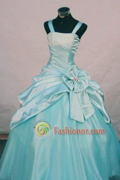 Affordable Ball Gown Strap Floor-length Turquoise Taffeta Flower Girl dress Style FA-L-452