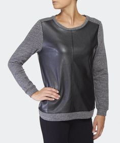VELVET By Graham & Spencer Abby Jersey Faux Leather Long Sleeve Top Black S $216 #VelvetbyGrahamSpencer #Tee #Casual