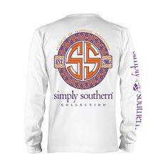 Simply Southern Clemson Game Prep Longsleeve T-shirt WHITE/PURPLE