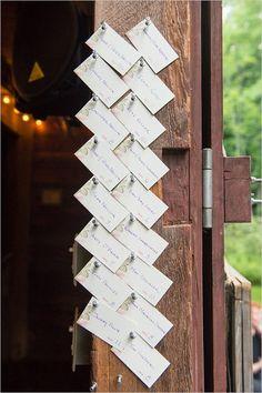 push pin escort card display | simple escort card idea | barn wedding ideas | #weddingchicks