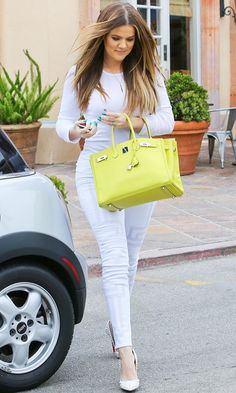 KHLOE KARDASHIAN | WHITE ON WHITE | BRIGHT HERMÈS BAG -- Click to get the look...