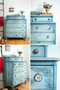 Salvaged Inspirations Faded Denim Inspired Painted Dresser Makeover | by Denise at Salvaged Inspirations #dixiebellepaint #paintedfurniture #siblog