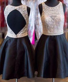 Cute Homecoming Dress,Beading Homecoming Dress,Backless Graduation Dress, Satin…