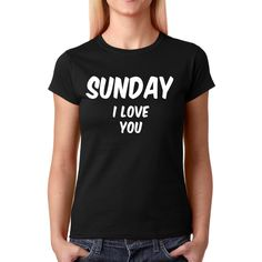Women's Sunday I Love You Shirt Handmade Printed Celebrity Fashion... (515 PHP) ❤ liked on Polyvore featuring tops, t-shirts, black, women's clothing, tee-shirt, long sleeve crew neck shirt, crew neck shirt, i love t shirts and long sleeve shirts