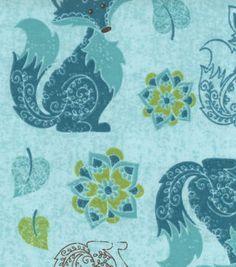 Snuggle Flannel Fabric- Ornate Fox