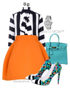 Untitled #3227 by stylebydnicole on Polyvore featuring polyvore fashion style Pink Tartan Hermès Michael Kors Fantasy Jewelry Box clothing
