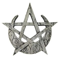 Crescent-Moon-Pentacle-Plaque-Silver-Finish-Dryad-Design-Pagan-Wicca-Pentagram