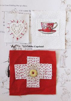 Textile patches, art patches, supplies, stitched and embroidered, 3 pieces
