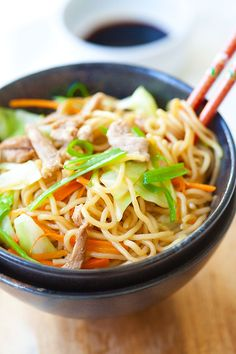 Yakisoba or Japanese fried noodles is a popular dish. Inspired by Chinese fried noodles, this yakisoba recipe is made with cabbage, carrot, and pork.