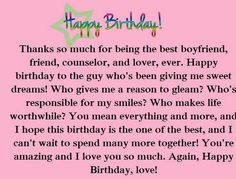 Birthday message for boyfriend texts life 30 ideas - Birthday message for boyfriend texts life 30 ideas - Happy Birthday Boyfriend Message, Birthday Message For Bestfriend, Birthday Wishes For A Friend Messages, Birthday Wishes For Boyfriend, Messages For Friends, Message For Boyfriend, Birthday Wishes Quotes, Sweet Messages, Birthday Greetings
