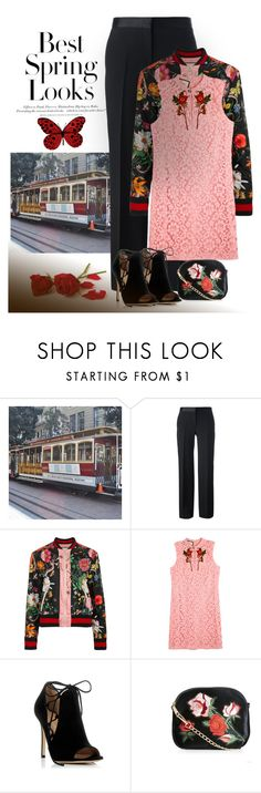 """""""Pink poppy"""" by gagenna ❤ liked on Polyvore featuring H&M, Alexander McQueen, Gucci, Gianvito Rossi, New Look, AlexanderMcQueen, gucci, GiambattistaValli and newlook"""