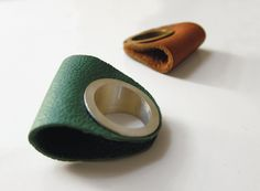 leather * silver rings