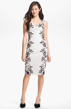 Want, want, want... Black Halo 'Laurence' Print Sateen Sheath Dress available at #Nordstrom