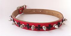 Spiked Red Genuine Leather Dog Collar with Black Cross Detail - Medium Studded by ToxifyDesigns on Etsy
