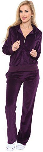 New Women Velour Hoodie Track suit Jacket Sweat Pants Set Sports Yoga Gym Purple (Large) #fallfashion -- Check out this great sponsored product.