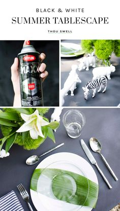 Set a chic black and white table for summer entertaining with this easy spray paint project on @thouswellblog #CreateWithKrylon #ad