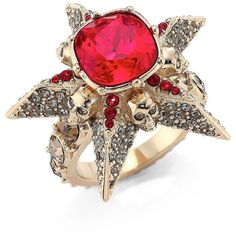 Alexander McQueen Star Skull Crystal Ring ($475) ❤ liked on Polyvore featuring jewelry, rings, swarovski crystal rings, crystal skull jewelry, red crystal ring, band jewelry and red jewelry