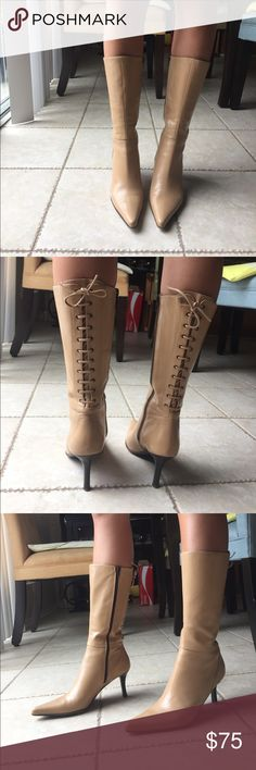 Nude Leather Charles David Boots Amazing leather boots made in Italy! Worn only a few times, in great condition. 3 inch heels, comes up to mid calf. Europe size 37 Charles David Shoes Heeled Boots