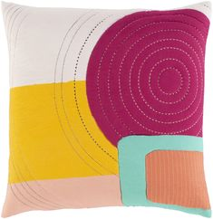 """Collection: Tara, Colors: Peach/White/Saffron/Bright Orange/Emerald/Bright Pink, Construction: Woven, Material: 100% Cotton/100% Cotton, Pile Height: 20.00"""", Style: Modern, Made in: India Decorative Pillow Covers, Throw Pillow Covers, Throw Pillows, Pillow Forms, Pillow Inserts, Oriental, Contract Design, White Pillows, Chicago Cubs Logo"""