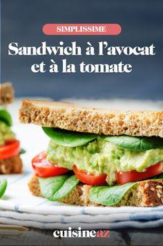 Ce sandwich à l'avocat et à la tomate est un repas à emporter facilement au travail. #recette#cuisine#sandwich#avocat #tomate Salmon Burgers, Sandwiches, Food And Drink, Ethnic Recipes, Tomatoes, Recipes, Paninis