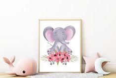 Safari Nursery, Nursery Prints, Wall Art Prints, Watercolour Flowers, Watercolor, Large Paper Flowers, Cute Elephant, Safari Animals, Vixen