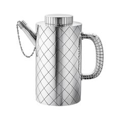 Sigvard Bernadotte, Cocktail Shaker, 1938 Sterling Silver H17cm x W16.8cm x V 0.9l Diameter 9cm Denmark Sigvard worked with Georg Jensen, a very influential silversmith of the time. The shaker is part of a set that consists of an ice bucket, tray, and beaker as well. The design is grounded in simplicity and uses geometric shapes and sparse ornamentation with the focus on functionality - prevalent of Art Deco product.