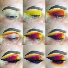 Basic Skin Care Tips That Everyone Should Be Using Colorful eye makeup tutorial. Amazing carnival or festival makeup look idea. Eye Makeup Steps, Smokey Eye Makeup, Eyeshadow Makeup, Makeup Art, Eyeshadows, Eyeshadow Pans, Yellow Eyeshadow, Makeup Hacks, Makeup Ideas