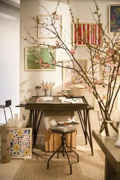 Beautiful and inspiring home art studio ideas I really want to create an inspiring space for me to feel comfortable and creative. I love the branches in the glass jar and this is something I could actually do in my small space.