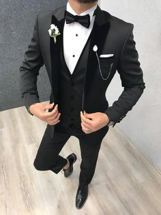 Collection: Spring – Summer 2019 Product: Slim-Fit Tuxedo Color Code: Black Size: Suit Material: satin fabric, lycra Machine Washable: No Fitting: Slim-fit Package Include: Jacket, Vest, Pants Only Gifts: Shirt, Chain and Bow Tie Red Tuxedo, Tuxedo Colors, Tuxedo Suit, Tuxedo For Men, Black Tuxedo Wedding, Mens Black Wedding Suits, Wedding Tuxedos, Groom Tuxedo, Mens Fashion Suits