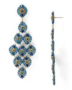 Miguel Ases Blue Gold Crystal Chandelier Earrings   Bloomingdale's