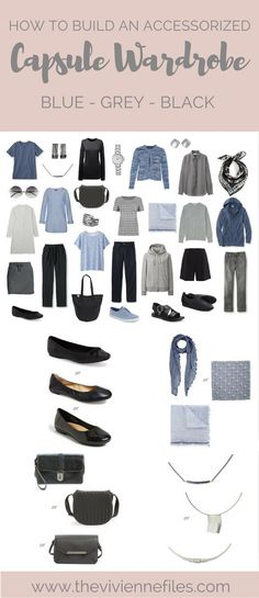 How to Build a Capsule Wardrobe with Accessories 1 at a Time: Blues, Grey and Black