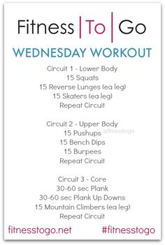 Wednesday Workout Circuit Style Strength, Cardio and Core Workout