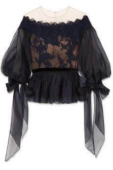 Marchesa - Organza, corded lace and tulle peplum top