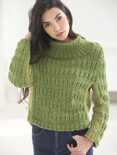 Knit this cozy pullover with our yarn of the month! Pattern calls for complementary shades of Wool-Ease Thick & Quick - 6 balls) and Heartland - 3 balls) and size 13 16 inch circular knitting needles. Knitting Patterns Free, Knit Patterns, Free Knitting, Knitting Ideas, Sweater Patterns, Knitting Projects, Handgestrickte Pullover, Free Pattern Download, Hand Knitted Sweaters