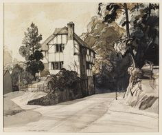 The Old Cottage, Pulborough; Recording Britain | Hilder | V&A Search the CollectionsThe Old Cottage, Pulborough; Recording Britain Object: Drawing Place of origin: Pulborough, England (made) Date: ca. 1940 (made) Artist/Maker: Rowland Hilder, born 1905 - died 1993 (artist)  Materials and Techniques: Charcoal and blue and sepia wash drawing on paper Credit Line: Given by the Pilgrim Trust